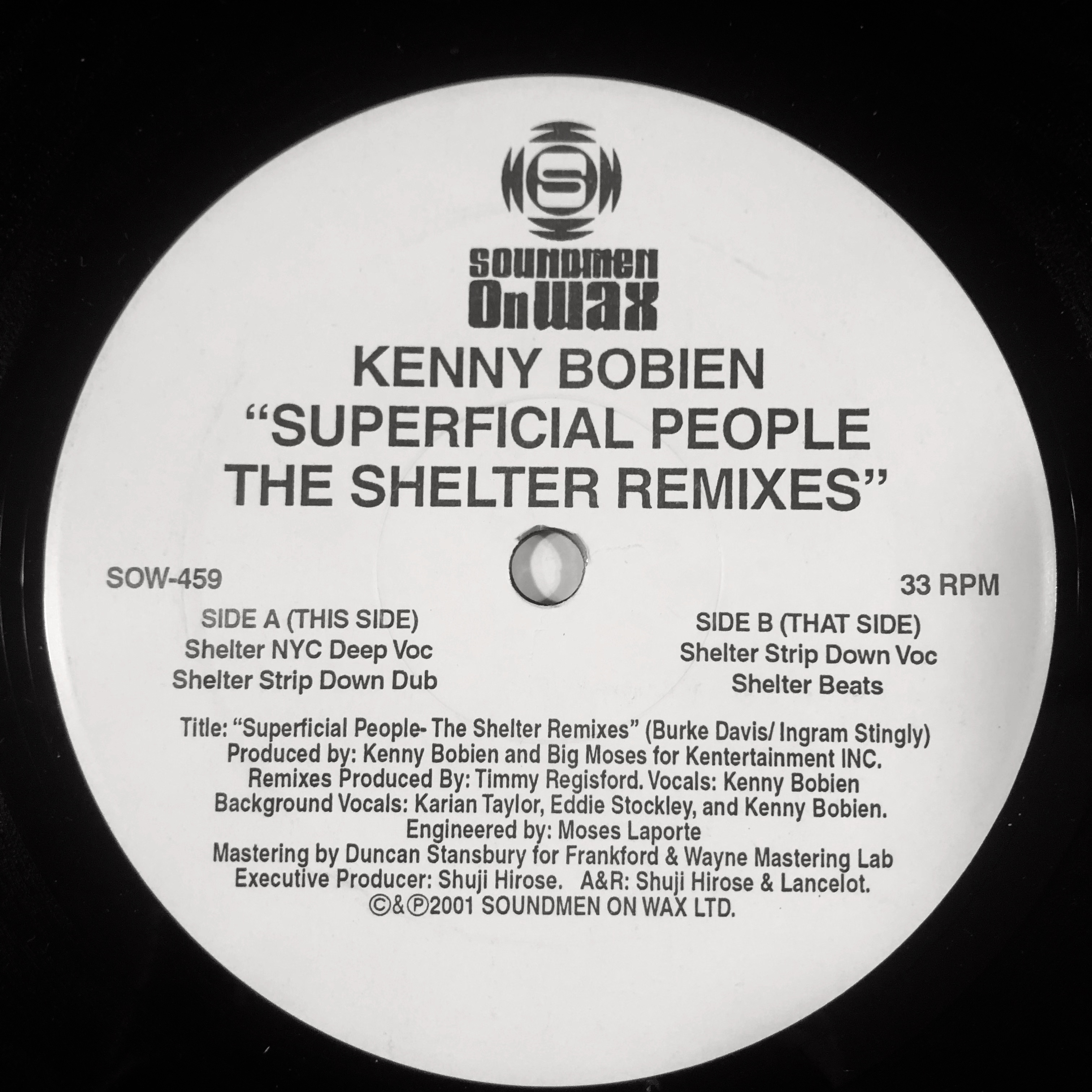 SUPERFICIAL PEOPLE (THE SHELTER REMIXES) (USED)